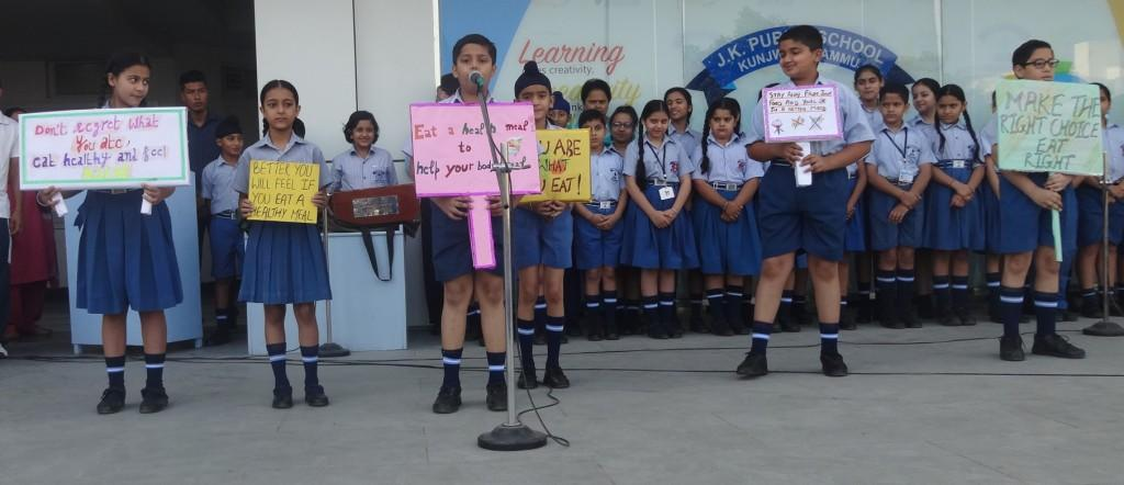 JKPS ORGANISED SPECIAL ASSEMBLY ON HEALTHY FOOD HABITS
